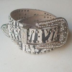 Accessories - Zebra bling belt